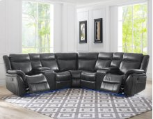 "Levin Power Right Arm Loveseat LED Strip Gray 68""x36""x40"""