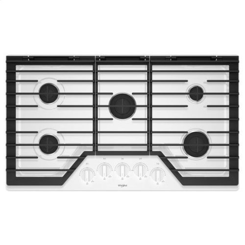 Whirlpool® 36-inch Gas Cooktop with EZ-2-Lift™ Hinged Cast-Iron Grates - White