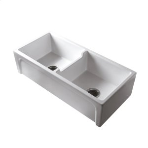 """Myron 39"""" Double Bowl Fire Clay Farmer Sink - White Product Image"""