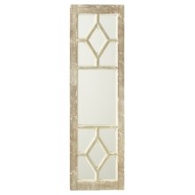 Distressed Grey & White Window Pane Wall Mirror