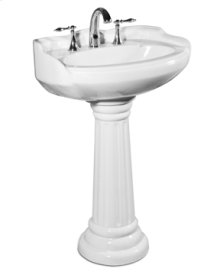 White ARLINGTON Pedestal Lavatory Medium, 8-inch spread