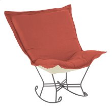 Scroll Puff Rocker Linen Slub Poppy Titanium Frame
