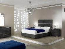 The Milo King Gray Birch Lacquer Bed