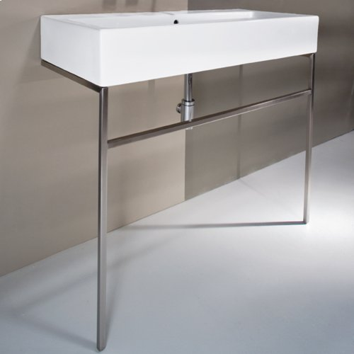"""Floor-standing stainless steel console stand with a towel bar. It must be attached to a wall.W: 39 3/8"""" D: 18 1/2"""" H: 29"""""""