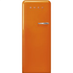 Smeg'50s Style fridge with ice compartment, Orange, Left-hand hinge, 24'' in-width