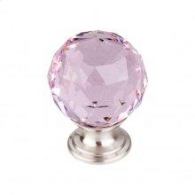 Pink Crystal Knob 1 3/8 Inch - Brushed Satin Nickel