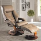 Sand (Tan) Top Grain Leather with Walnut Finish - Reclines - Swivels - Lumbar Support - Quality Top Grain Leather - Pillow Top Back Cushion Product Image