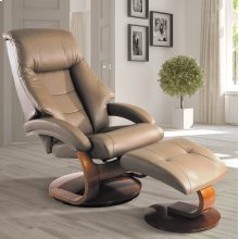 Sand (Tan) Top Grain Leather with Walnut Finish - Reclines - Swivels - Lumbar Support - Quality Top Grain Leather - Pillow Top Back Cushion