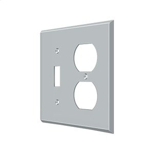 Switch Plate, Single Switch/Double Outlet - Brushed Chrome