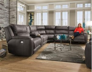 SOUTHERN MOTION 883 6-Piece Dazzle Passion Slate Sectional Sofa