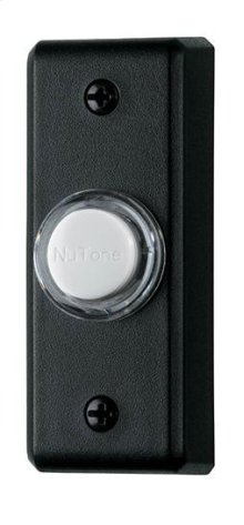 Lighted Rectangular Pushbutton, 1w x 2-3/4h in Black