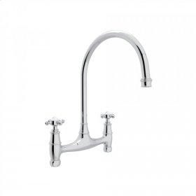 Polished Chrome Perrin & Rowe Georgian Era Bridge Kitchen Faucet with Cross Handle