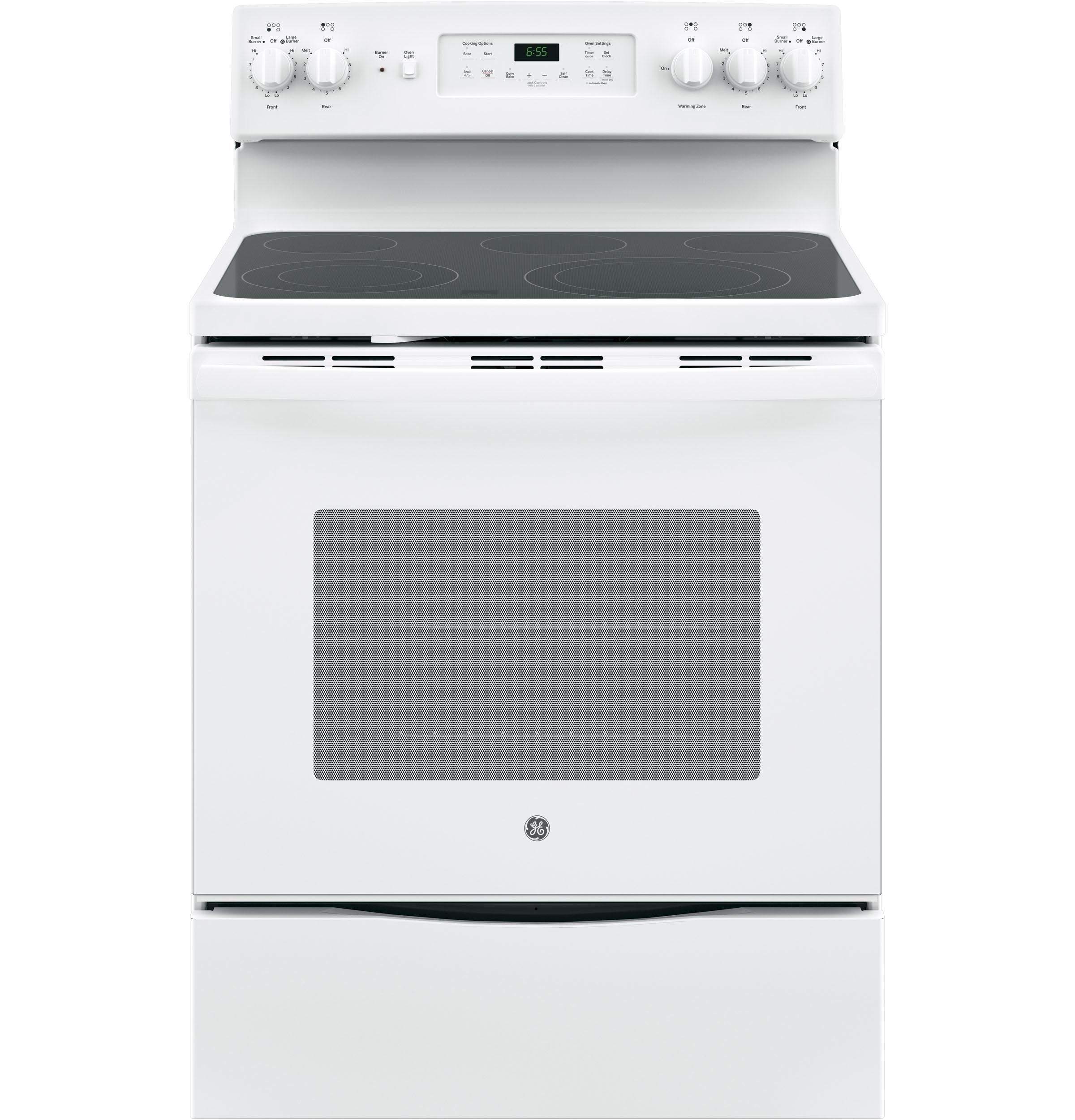 """GE(R) 30"""" Free-Standing Electric Convection Range  WHITE"""