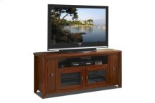 """64"""" Wide Credenza, Solid Wood and Veneer In A Solid Wood and Veneer In A Walnut Finish, Accommodates Most 70"""" and Smaller Flat Panels - No Tools Required"""