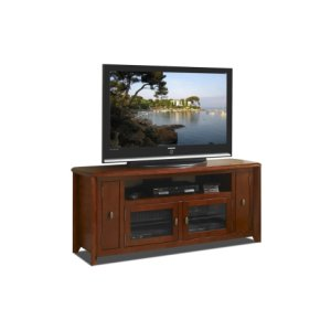 "Techcraft64"" Wide Credenza, Solid Wood and Veneer In A Solid Wood and Veneer In A Walnut Finish, Accommodates Most 70"" and Smaller Flat Panels - No Tools Required"