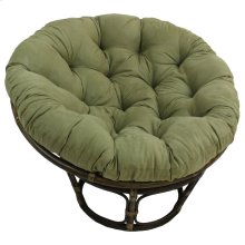 Bali 42-inch Rattan Papasan Chair with Microsuede Fabric Cushion - Walnut/Sage Green