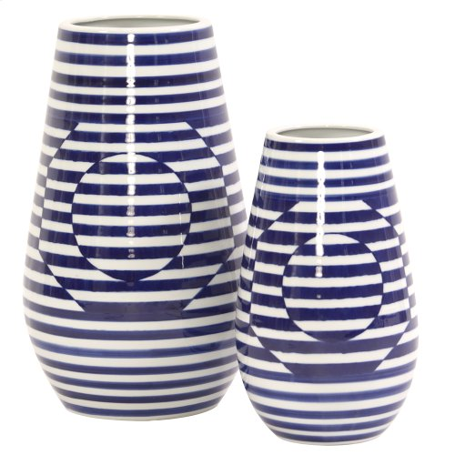 Optical Illusion Blue and White Striped Ceramic Vase, Small