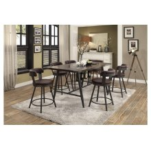 5pc - Dining Set (Includes: Counter Height Table w/ Glass Insert & 4 Swivel Counter Height Brown Chairs)