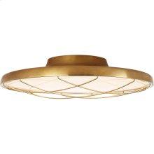 Visual Comfort PB4004NB Peter Bristol Dot LED 17 inch Natural Brass Flush Mount Ceiling Light, Caged