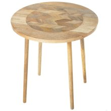 Large Chevron Inlay Top Side Table.
