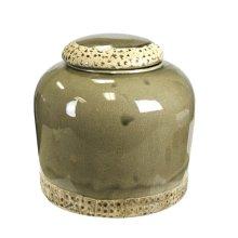 Decorative Ceramic Banded Covered Jar, Green