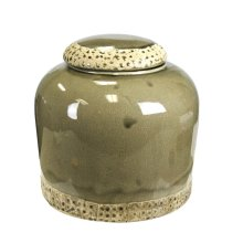 Decorative Ceramic Banded Covered Jar, Green