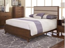 5/0 Queen Upholstered Panel Bed - Cinnamon Finish