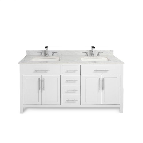 Espresso MALIBU 60-in Double-Basin Vanity Cabinet with Crema Marble Stone Top and Muse 18x12 Sink