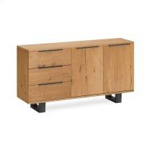 Waxed Oak Small Sideboard Metal Base