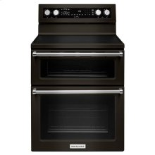 KitchenAid® 30-Inch 5 Burner Electric Double Oven Convection Range - Black Stainless