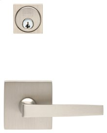 Square Rose Exterior Modern Mortise Entrance Lever Lockset in (Square Rose Exterior Modern Mortise Entrance Lever Lockset - Solid Brass)