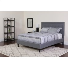 Roxbury King Size Tufted Upholstered Platform Bed in Light Gray Fabric