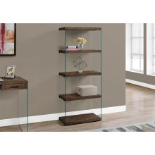 """BOOKCASE - 60""""H / BROWN RECLAIMED WOOD-LOOK /GLASS PANELS"""