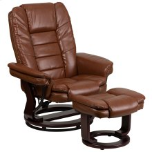Contemporary Multi-Position Recliner with Horizontal Stitching and Ottoman with Swivel Mahogany Wood Base in Brown Vintage Leather