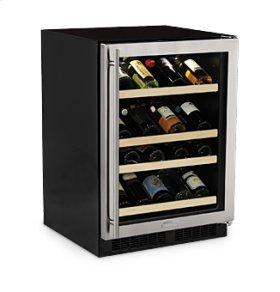 "24"" High Efficiency Gallery Single Zone Wine Cellar - Stainless Steel Frame Glass Door - Right Hinge"