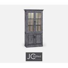 Plank Antique Dark Grey Tall Bookcase with Strap Handles