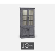 Plank Antique Dark Grey Tall Bookcase with Strap Handles
