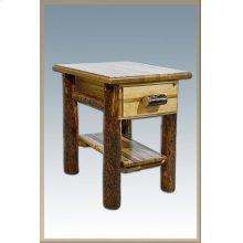Glacier Country Log Nightstand with Drawer