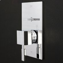 Built-in single-lever pressure balancing mixer with two-way diverter and rectangular backplate.