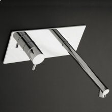Wall-mounted single lever faucet with backplate, spout on the right. Includes rough-in & trim.