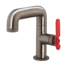 UNION Single-hole Basin Faucet with Red Lever Handle - Brushed Black Chrome