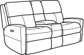 Catalina Leather Power Reclining Loveseat with Console and Power Headrests