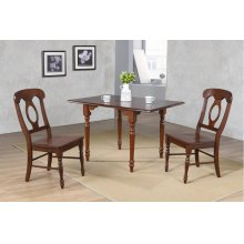 DLU-ADW3448-C50-CT3PC  3 Piece Drop Leaf Dining Set  Chestnut with Napoleon Chairs