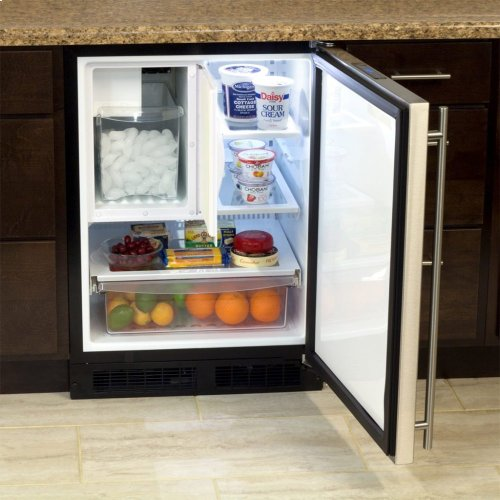 "Marvel 24"" Refrigerator Freezer with Ice Maker and Drawer Storage - Solid Stainless Steel Door - Left Hinge"