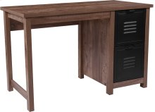 New Lancaster Collection Crosscut Oak Wood Grain Finish Computer Desk with Metal Drawers
