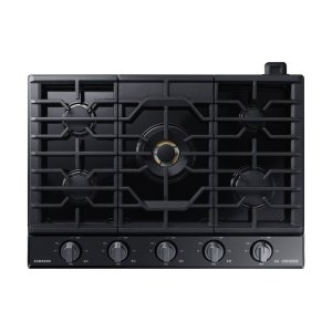 "Samsung30"" Chef Collection Gas Cooktop with 22K BTU Dual Power Burner in Matte Black Stainless Steel"