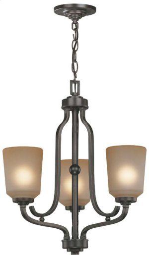 3-lite Chandelier, Dark Bronze W/L.AMBER Glass Shd, A 60wx3