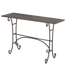 Distressed Black Scroll Console Table.