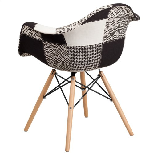 Alonza Series Turin Patchwork Fabric Chair with Wooden Legs