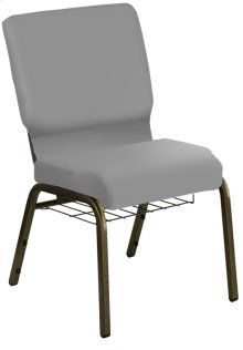HERCULES Series 21'' Extra Wide Customizable Church Chair with Book Basket and Gold Vein Frame - C.O.M.